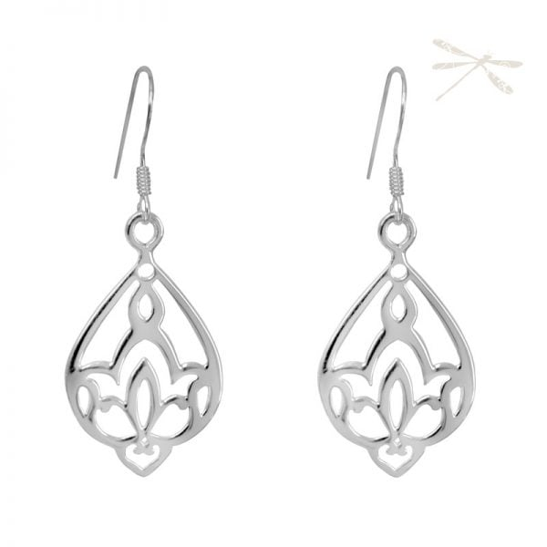 silver earring lotus