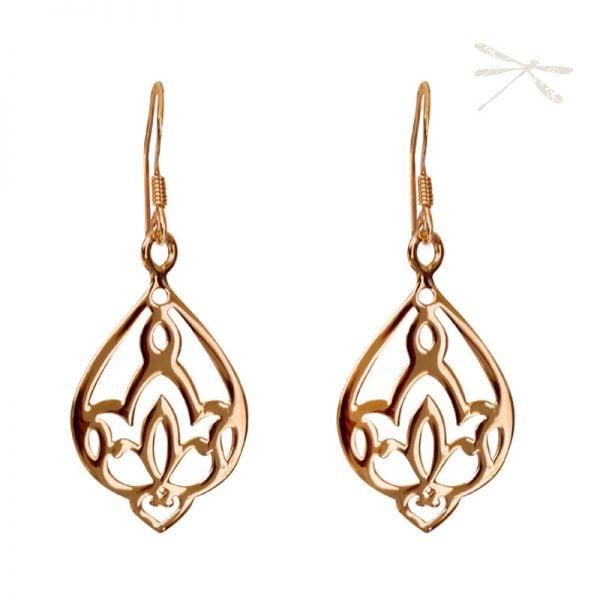 rose gold lotus earring
