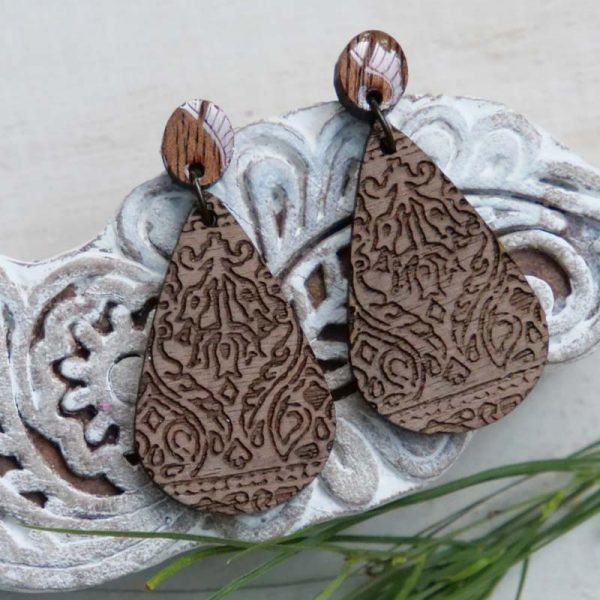 lasercut wood earring