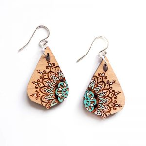 teardrop wood earrings