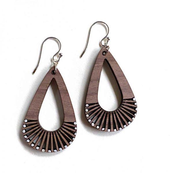 teardrop wood earrings