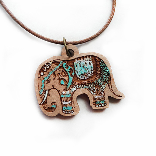 wood elephant pendant