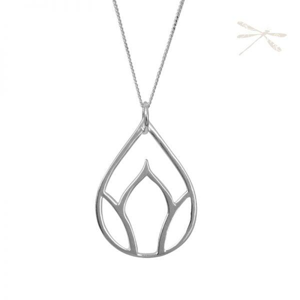 lotus Bud silver pendant
