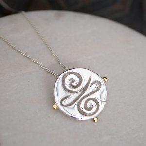 silver gold pendant