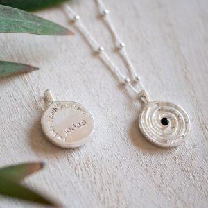 journey spiral silver pendant