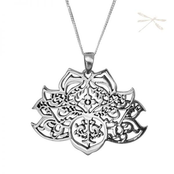 lotus flower silver pendant