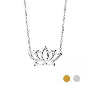 Silver lotus flower neckalce