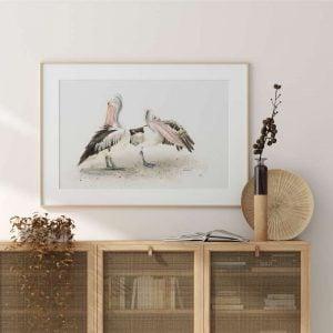Pelican print framed