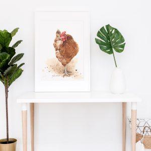 Framed chicken print