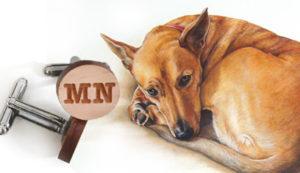 cufflink/ dog portrait